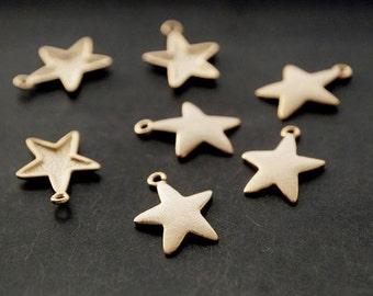 P0091/Anti-Tarnished Matt Gold Plating Over Brass/Starfish Pendant/16 x 13mm/4pcs