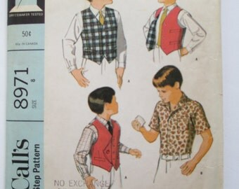 Vintage McCall's 1969 sewing pattern # 8971 Boy's Shirt and Vest  REVERSIBLE