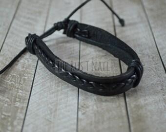 FREE SHIPPING - Black Leather Bracelet - Unisex Cuff Bracelet