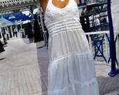 "Organic Cotton Crochet ""Yacht Club"" Nautical Maxi Long Dress"