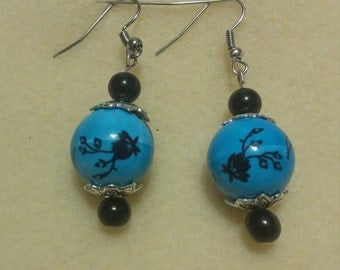 blue bead earings