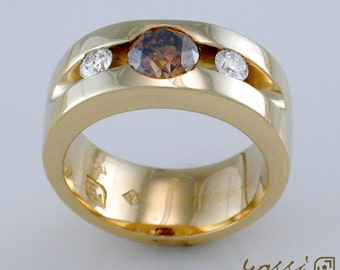 Yellow Gold split, tension set ring featuring a Champagne Diamond and 2 White Diamonds; Yellow Gold and Diamond Ring