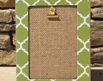 Green and burlap photo/note holder