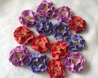 12 Fondant Flower Cupcake Toppper I Fondant Flowers Gumpaste Flowers Sugar Flowers Cupcake Toppers Cupcake Decoration