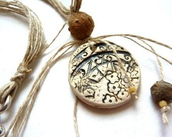 Ceramic pendant, natural beads, bone and hemp necklace
