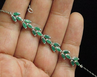 Handmade Sterling Silver White Gold Filled & Genuine Emarald Bracelet
