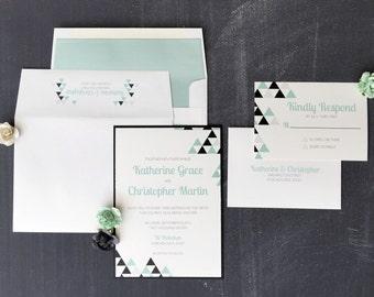 Wedding Invitation, The Perfect Angle Wedding Invitation, Hipster Wedding Invitations, Wedding Invites - Invitation Sample Kit