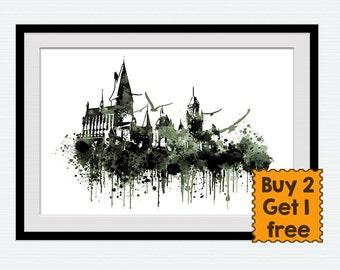 Hogwarts castle poster, Harry Potter, Hogwatrs illustration, home decoration, gift print, nursery, kids room, wall art poster, W101