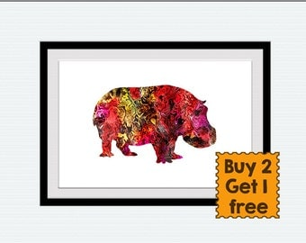 Hippo poster, hippo print, watercolor hippo, colorful hippo, archival, silhouette, home decor, nursery, hippopotamus, living room art,  W53