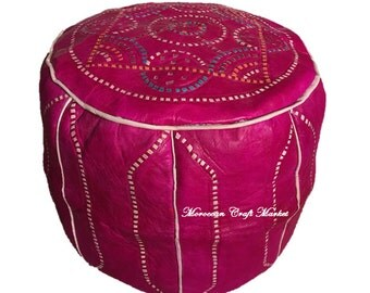 SALE - LAST ONE: Moroccan Leather Pouf