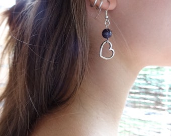 Amethyst and G keys earrings