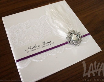 Luxe Invitation SAMPLE - Lace, Feather and Diamante Cluster Wedding Invitation with Satin Ribbon