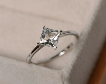 White topaz ring, princess cut, solitaire ring, sterling silver