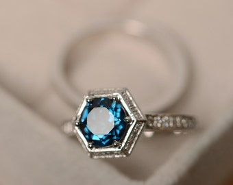 London blue topaz ring, engagement ring, sterling silver, promise ring, blue gemstone, wedding ring
