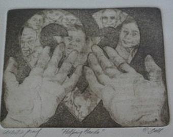 "Signed Artist Proof ""Helping Hands"" art"