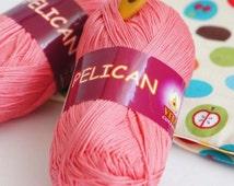 Double mercerized cotton yarn PELICAN by Vita Cotton  Set of 5 skeins  / Cotton knitting crochet  yarn 330m 50g Summer soft natural yarn