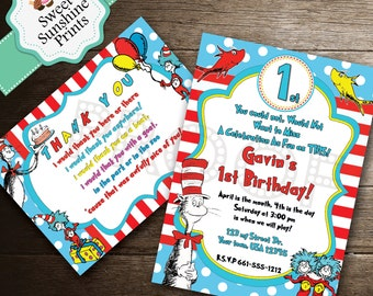 Dr. Seuss Cat in the Hat Birthday Invitation and Thank You Card Set