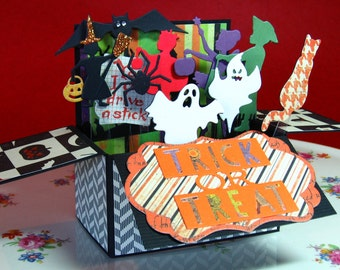 Halloween, Card in a Box, Pop-Up, Card, Witch, Spider, Ghosts, Trick or Treaters, Bat  (#51)