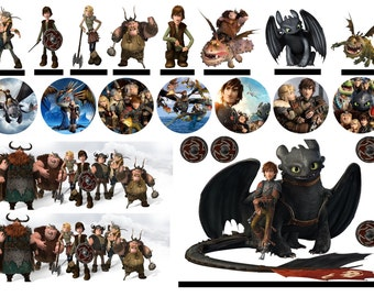 How to train your dragon cake etsy 22 x precut how to train your dragon edible birthday party stand up cake scene cupcake ccuart Image collections