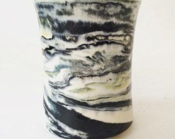 Marbleized vase, vase en porcelaine, fait main, pièce unique