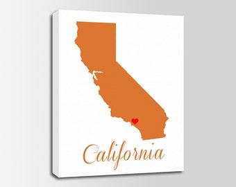 California Canvas Print, California Map, California Print, State Wall Art, Personalized Home Town Art, Wall Decor, Nursery, USA
