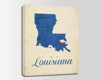 Louisiana Canvas Print, Louisiana Vintage Print, Louisiana Map, Personalized Art, Wall Decor, Vintage Map, Nursery Art, USA