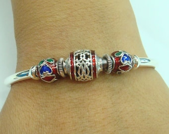 925 sterling silver bangle with enamel bead