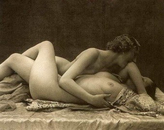 1920's Era Lesbian Nude Study-French Postcard Style-Sepia-Multiple Sizes-[730-611] Sexy Exotic Lovers Romantic Sensual