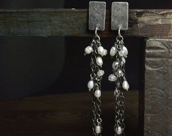 Freshwater pearls earrings Sterling silver earrings Raw sterling silver Long earrings Oxidized Moonstone