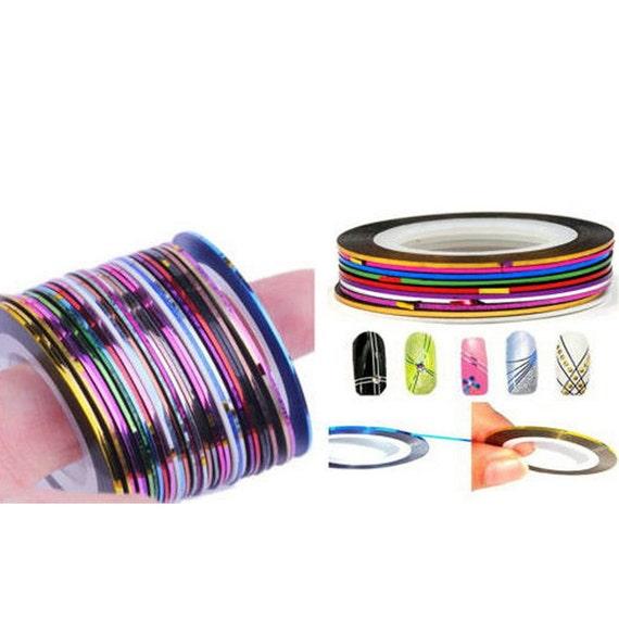 Nail Art Tape Strips: Striping Tape XXXL Nail Strips 10Pcs X 55 Feet Mixed Colors