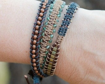 Triple wrap brown leather bracelet with copper and teal beads