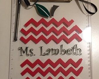Teacher Gift clipboard Apple Chevron, Personalized Teacher Clipboard with Name, Apple Chevron Clipboard, Teacher Appreciation gift