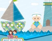 Nautical Baby Shower Boy, Baby Shower, Clipart, Baby Boy, Nautical