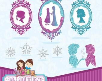 Sparkly Silhouettes Frozen, Clipart, Birthday Girl, Princess, Frozen Party, Frame, Snowflakes