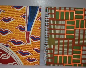 African Print/ Ankara Hard Cover SPIRAL lined Notebook