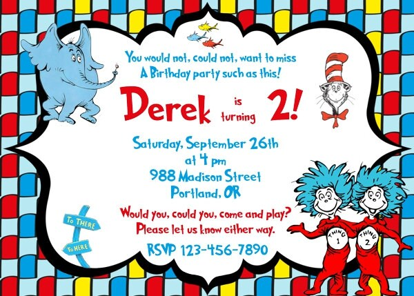 Dr Seuss Invitation Dr Seuss Birthday Invitation Dr Seuss