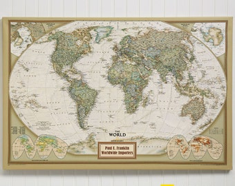 National Geographic® Executive World Personalized Canvas Map