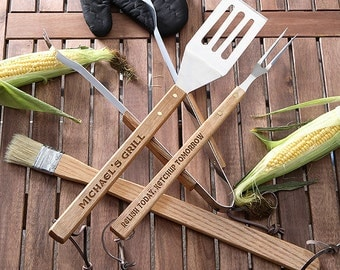 You Name It! 4-Piece Personalized BBQ Utensil Set