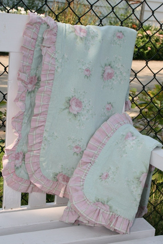 Shabby chic pillow shams pink roses pink plaid ruffled