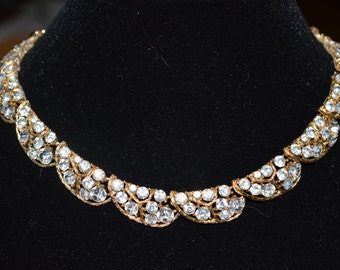 Vintage rhinestone choker necklace signed Lisner