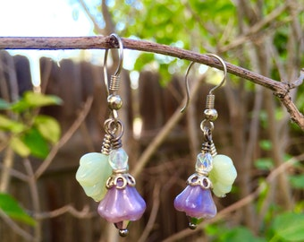 Simple Drop Earrings With Purple Flower and Mint Green Leaf