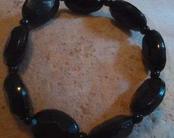 Black Glass Beaded Bracelet