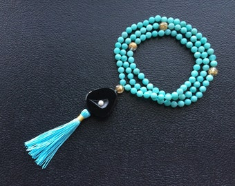 8MM Hand Knotted Natural Amazonite, Gold Rutilated Quartz & Black Agate Window Druzy with Pearl 108 Mala Tassel Necklace