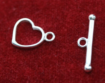 Heart Toggle Clasp Connectors (Sterling Silver) - Two sets per pack - Design B