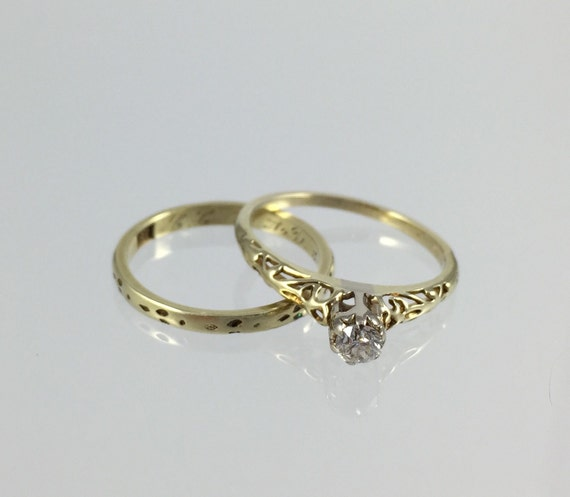 vintage antique engagement ring wedding band set