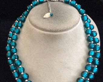 Vintage Double Stranded Deep Ocean Blue Glass Beaded Necklace
