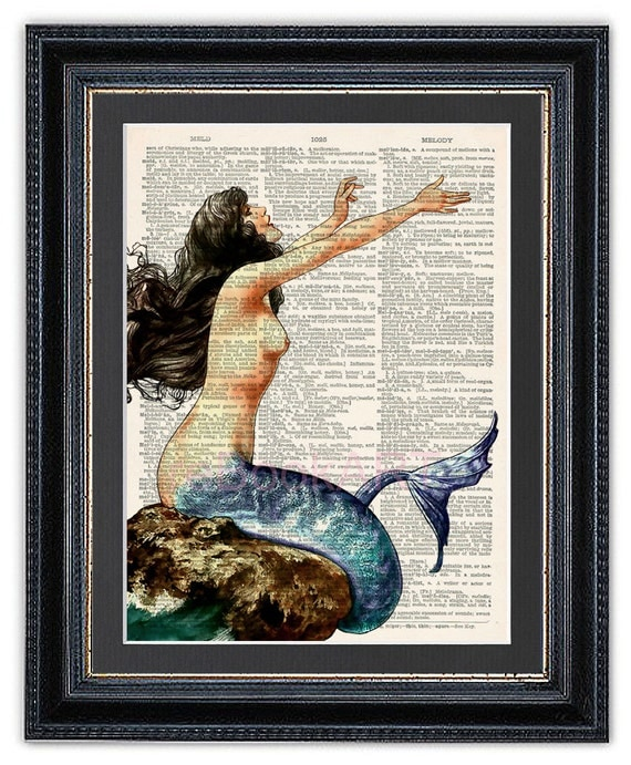 Mermaid Gifts Mermaid Decor Mermaid Art Print Mother S: Mermaid Dictionary Art Print Mermaid Art Mermaid Wall By