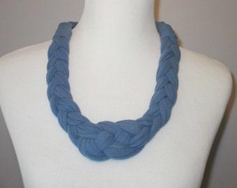 T-Shirt Necklace, Nautical Knot Necklace, Celtic Knot Necklace, Upcycled T-Shirt, Blue T Shirt Necklace, Handmade T-Shirt Necklace