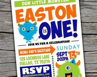 Monster Invitation/ Kids Monster Birthday Invite / Monster Bash Invite/ Monster theme party invite/ Monster Invite/ Twin Birthday Invite