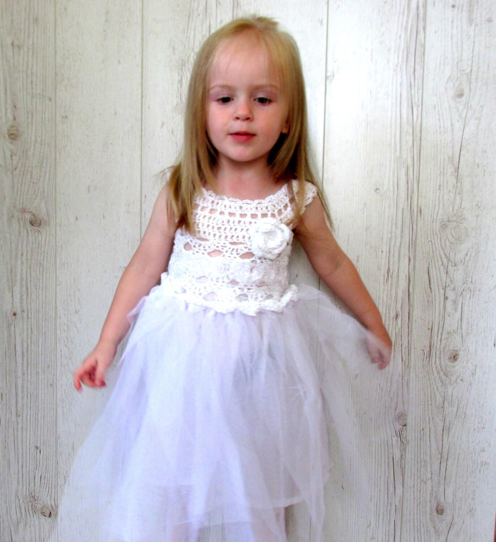 White Flower Girl Dress Girls Tutu Dress Crochet Tutu Dress